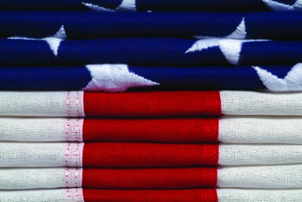 wall art of folded usa flag