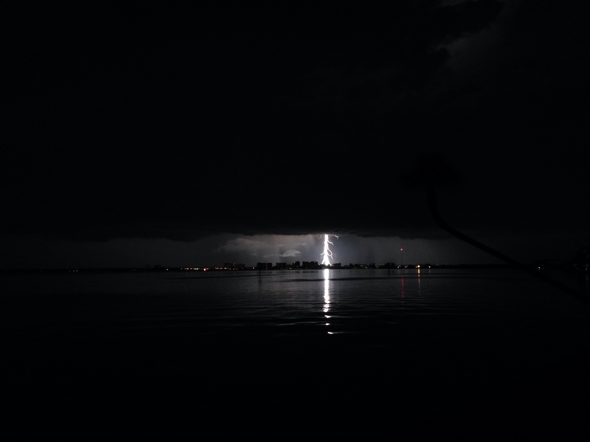 Lightning strike on Sarasota Bay