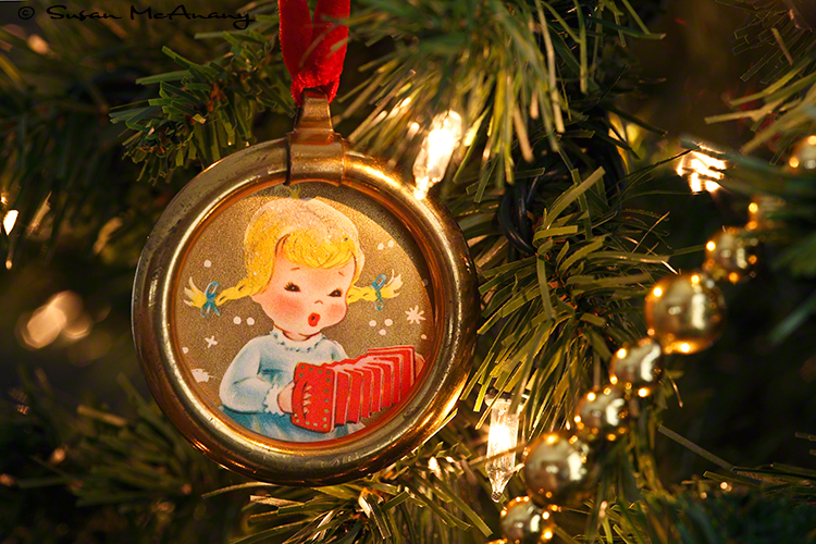 vintage hand painted ornament