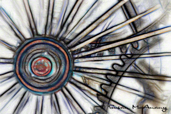 Reimagine abstract art image of train wheel.