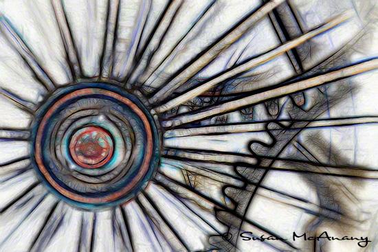 Reimagine abstract art image of train wheel.