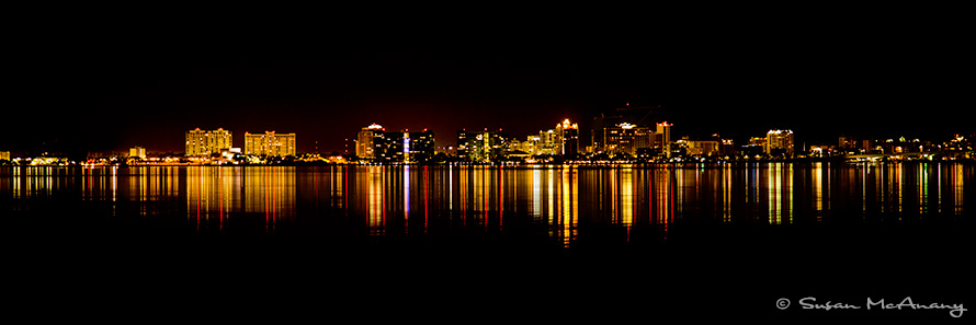 Night photography of Sarasota Skyline