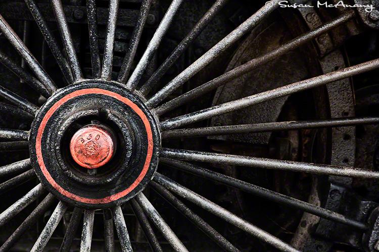 Close up of train wheel.